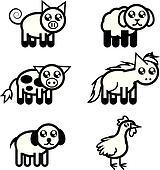 Farm Animal Outlines