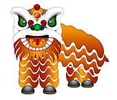 Chinese Lion Dance Full Body Illustration