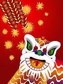 Chinese Lion Dance Head with Firecrackers Illustration