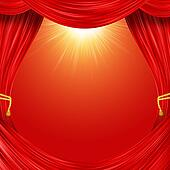 Open curtain. Red fabric