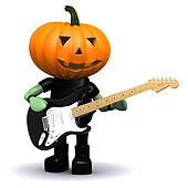 3d Pumpkin head plays electric guitar