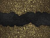 Black grunge background with golden torn edges