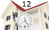 The house with red roof and clock numbers flying. Leaving time sale of real estate