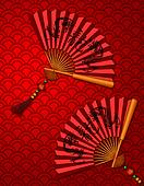 Chinese New Year Dragon Fans on Scales Pattern Background