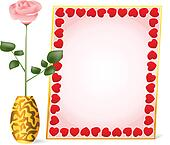 pink rose and frame