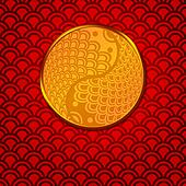 Chinese Pair of Fish in Yin Yang Circle on Red Background