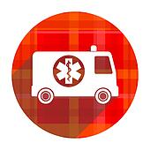 ambulance red flat icon isolated