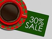 christmas coffee and discount card lying on white tablecloth