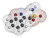 Zonisamide epilepsy drug molecule. Atoms are represented as sphe