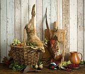 Dead hare in hunting still life