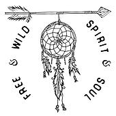 Dream catcher and arrow, tribal legend in Indian style with traditional headgeer. dreamcatcher with bird feathers and beads. illustration, letters Free and Wild spirit and soul. isolated