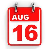 Calendar on white background. 16 August.
