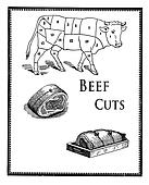 Food engraving,beef cuts and meat preparation