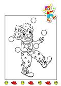 coloring book of the works - clown