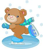 Cute bear on ice skates