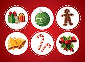 Set of Christmas items