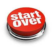 Start Over Renewal Restart Round Red Button