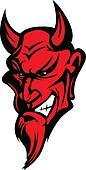 Demon Devil Mascot Head Vector Illu
