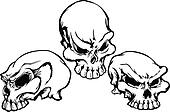 Skulls Group with Graphic Vector Im