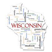 Wisconsin Map Word Cloud Concept