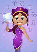 sorceress with tarot