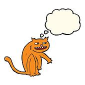 cartoon happy cat with thought bubble