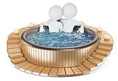 3D white people. Couple relaxing in a jacuzzi