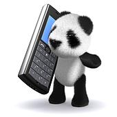3d Panda bear chatting on mobile phone