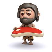 3d Caveman with a juicy raw steak