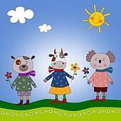 Teddy, cow and koala