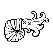 cartoon nautilus squid