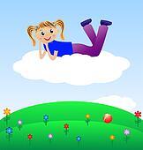 merry girl lie on cloud