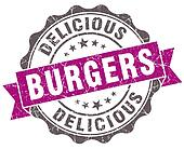 Burgers violet grunge retro style isolated seal