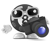 3d Eight ball takes pictures with a camera