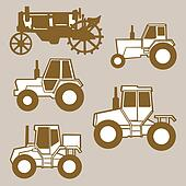 tractor silhouette on brown background