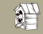 dog in kennel on brown background,