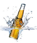 Clear Beer bottle falling into water, forming a crown splash. Viewed from a side close up, with also the part under water visible. On white background.