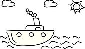 Boat on sunny day vector clip art