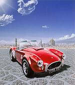 AC Cobra car, in Michelangelo Square in Florence, Italy. With the cityscape in the background. Airbrush illustration.