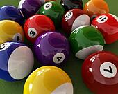 Group of billiard balls with numbers, on green carpet table. Clo