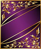 background with gold(en) grape pattern and band