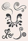 Swirl and floral vector elements in various styles
