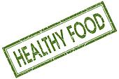 Healthy food green square grungy stamp isolated on white background