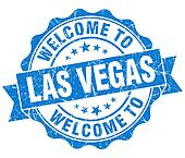 welcome to Las Vegas blue vintage isolated seal