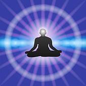 Meditation on Blue background