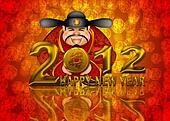 2012 Happy New Year Chinese Money God Illustration