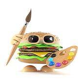 3d Burger ready to paint a picture