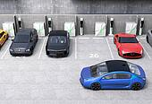 Blue electric car looking for charg