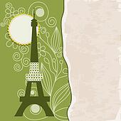 Retro Paris background with stylized Eiffel Tower and paper texture for text