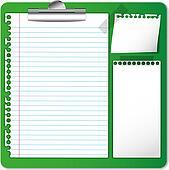 Memo and paper on clip board.